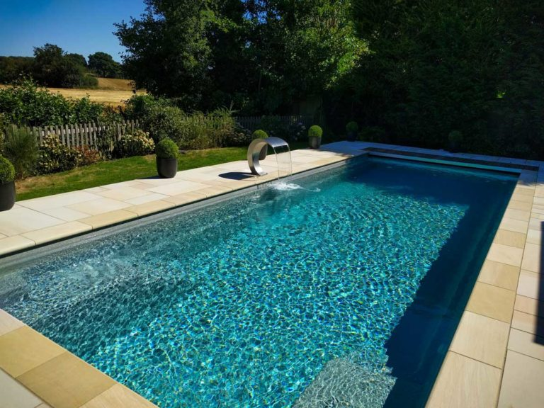 Outdoor Swimming Pool Design with Waterfall